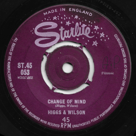 Change Of Mind / Sha Ba Da - Higgs And Wilson
