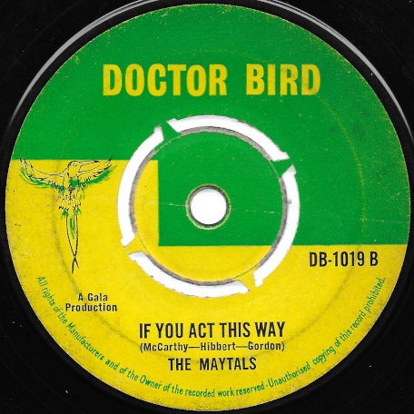 Ska Ing West / If You Act This Way - Sir Lord Comic And His Cowboys / The Maytals