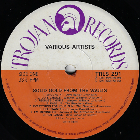''Solid Gold'' From The Vaults - Various..Dave Barker..Cornell Campbell..The Hippy Boys..The Maytals And Beverley All Stars